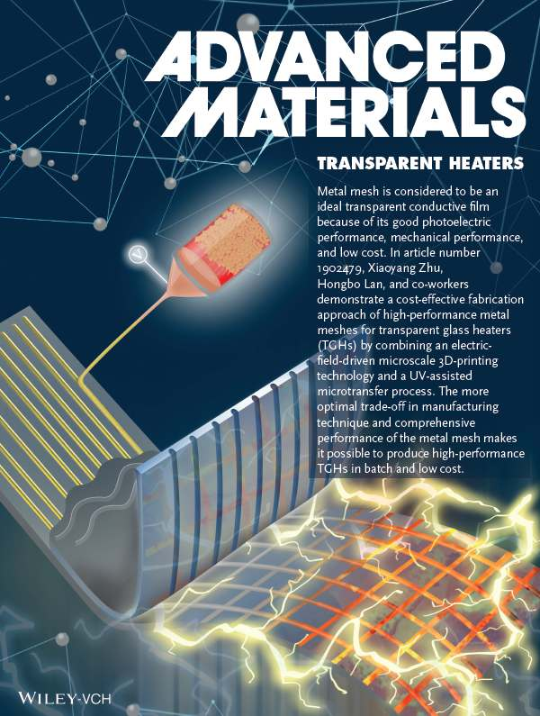 Transparent Heaters: Fabrication of High‐Performance Silver Mesh for Transparent Glass Heaters via Electric‐Field‐Driven Microscale 3D Printing and UV‐Assisted Microtransfer